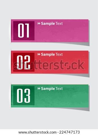colorful modern old paper text box template for website computer graphic and internet, numbers. label.  - stock vector