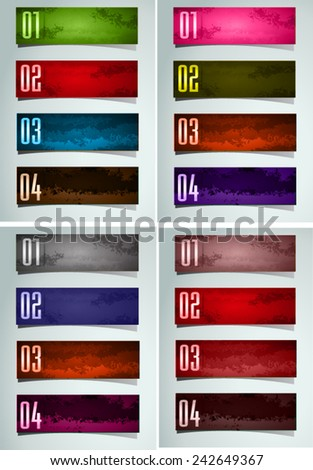 colorful modern old paper text box template for website computer graphic and internet, numbers. Set of color frames for text or quotes. brochure. many, various - stock vector