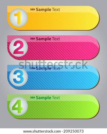colorful modern text box for website graphic and business, numbers, icon.  - stock vector