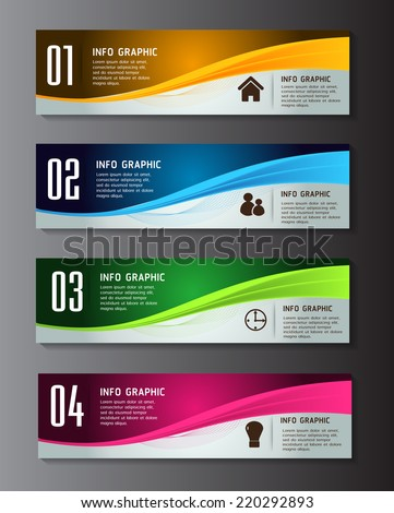 colorful modern text box template for website computer graphic and internet, numbers. label. - stock vector