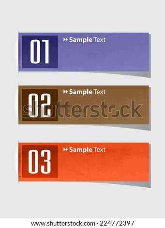 colorful modern text box template for website computer graphic and internet, numbers. label. old paper - stock vector