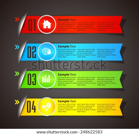 colorful modern text box template for website computer graphic and internet, numbers. ribbon - stock vector