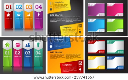 colorful modern text box template for website computer graphic and internet, numbers. Set of color frames for text or quotes. brochure. many. various. - stock vector