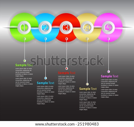 colorful modern time line text box template for website computer graphic and internet, numbers. - stock vector