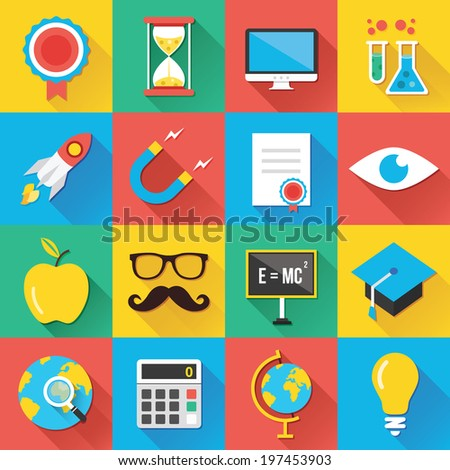 Colorful modern vector flat icons set with long shadow. Quality design illustrations, elements and concepts for web and mobile apps. Education icons, science icons, technology icons etc. - stock vector