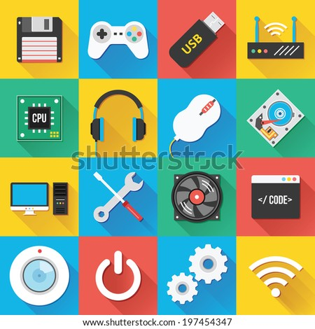 Colorful modern vector flat icons set with long shadow. Quality design illustrations, elements and concepts for web and mobile apps. Web icons, computer icons, technology icons, hardware icons etc. - stock vector