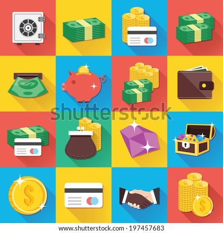 Colorful modern vector flat icons set with long shadow. Quality design illustrations, elements and concepts for web and mobile apps. Finance icons, banking icons, money icons, business icons etc. - stock vector