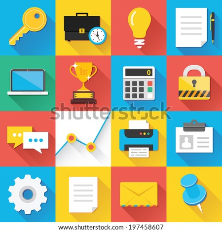 Colorful modern vector flat icons set with long shadow. Quality design illustrations, elements and concepts for web and mobile apps. Business icons, marketing icons, seo icons, interface, office etc.  - stock vector
