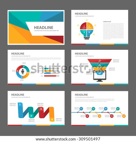 Colorful multipurpose presentation infographic element and light bulb symbol icon template flat design set for advertising marketing brochure flyer - stock vector