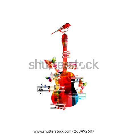 Colorful music background with guitar and a bird  - stock vector