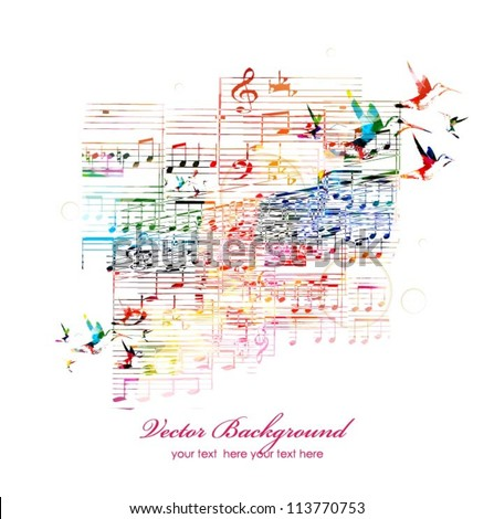 Colorful music background with hummingbirds. Vector - stock vector