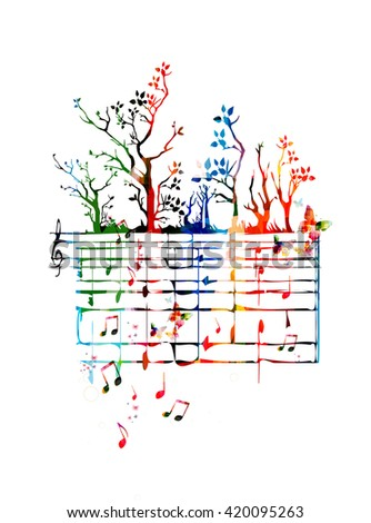 Colorful music background with music notes and butterflies - stock vector