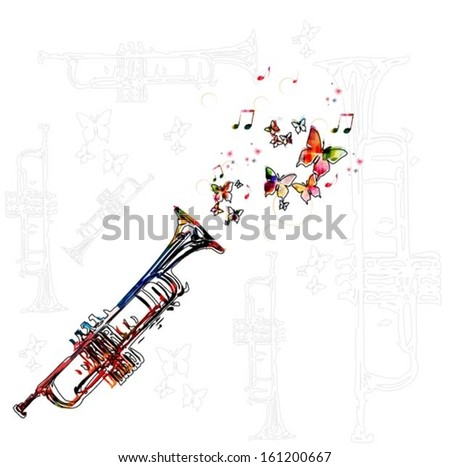 Colorful music background with trumpet. - stock vector