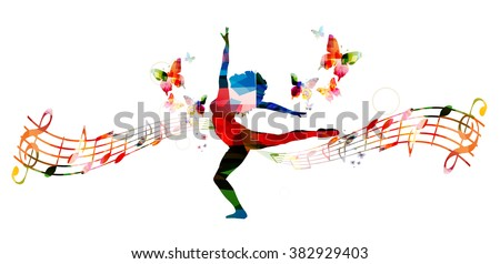Colorful music background with woman dancing - stock vector