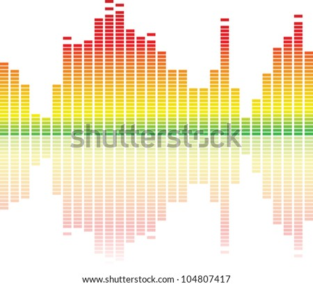 colorful music equalizer on white background - stock vector