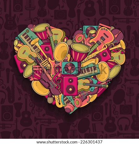 Colorful music heart. Vector illustration. - stock vector