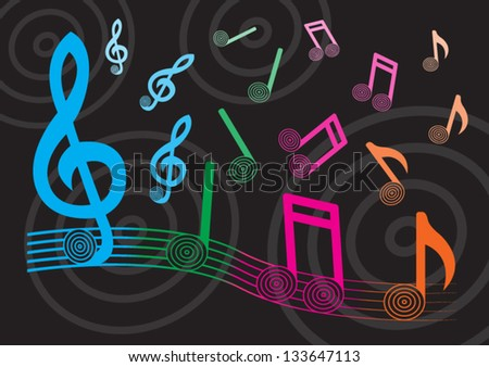 Colorful music note is beautiful - stock vector