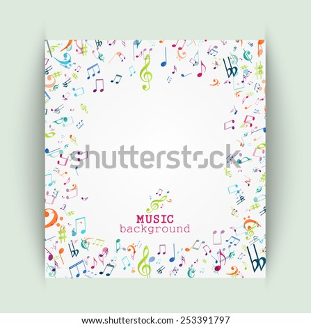 Colorful music notes background  - stock vector