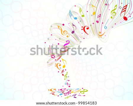 Colorful musical background with waves and musical notes on abstract background. EPS 10. can be use as poster, flyer or banner for concerts and other events. - stock vector