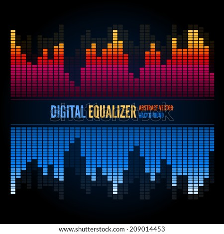 Colorful musical bar equalizer on black background - stock vector