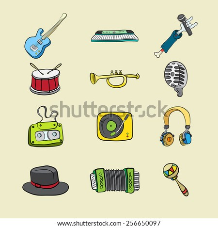 colorful musical icons on a light background hand-drawn - stock vector