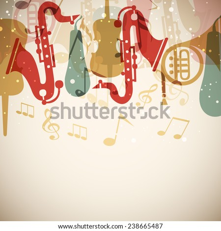 Colorful musical instrument or musical notes on stylish background. - stock vector