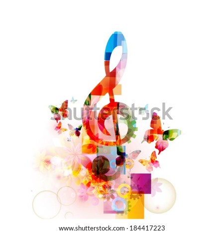 Colorful musical note background - stock vector