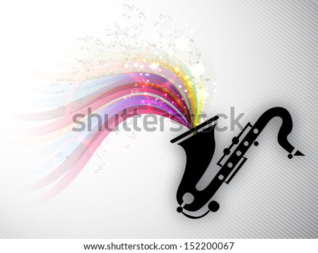 Colorful musical notes coming out from saxophone, can be use as flyer, poster or banner in music concept and parties.  - stock vector
