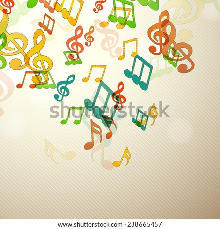 Colorful musical notes over seamless background. - stock vector