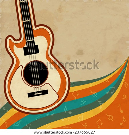 Colorful musical notes wave background with guitar. - stock vector