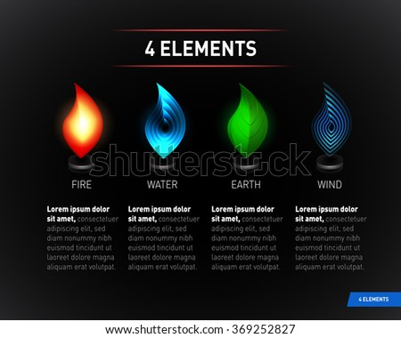 Colorful Nature elements. Water, Fire, Earth, Air. Infographics elements on dark background. Templates for renewable energy or ecology logos, emblems or cards. Alternative energy sources - stock vector