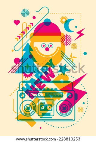 Colorful New Year illustration. Vector illustration. - stock vector