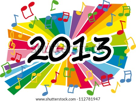Colorful new year 2013 music illustration - stock vector