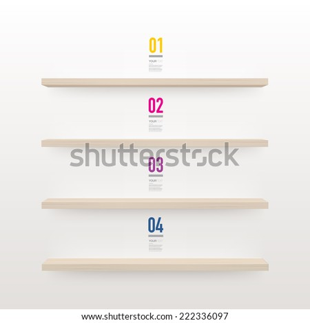 Colorful numbers and text with realistic 3d wooden bookshelf  can be used for workflow layout, diagram, chart, number options, web design.  Eps 10 stock vector illustration  - stock vector