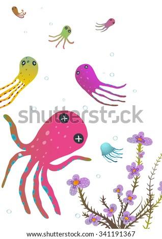 Colorful Octopus on White Cartoon Greeting Card Design. Under the sea marine life cute cartoon illustration. Vector EPS10.  - stock vector