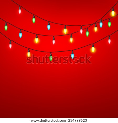 Colorful of light bulb on a red background. A vector illustration. - stock vector