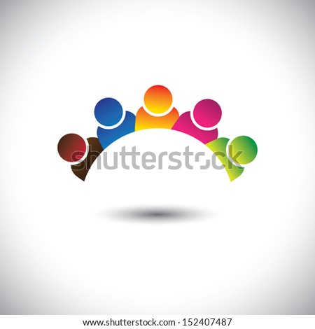 colorful office executives ( employees ) unity & diversity- vector graphic. This illustration can represent staff members diversity, employee community unity, play school children, happy kids, etc - stock vector