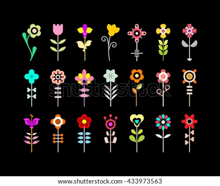 Colorful on a black background flower vector icon set. - stock vector