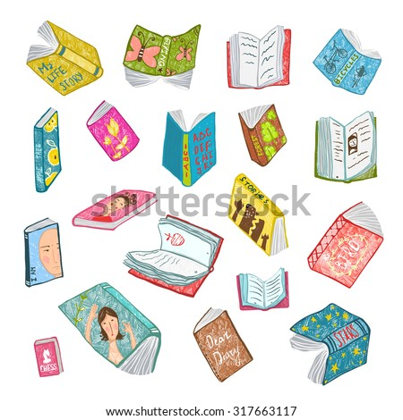 Colorful Open Books Drawing Library Collection. Big set of hand drawn brightly colored literature covers illustration.  - stock vector