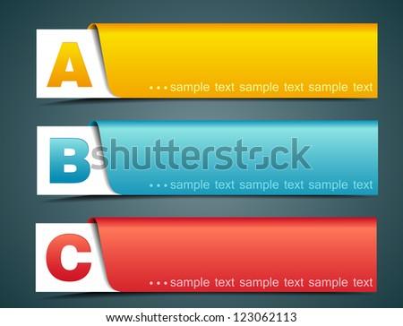 Colorful options banner template, vector illustration - stock vector