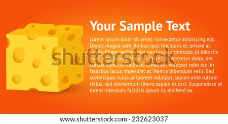 Colorful orange banner with 3d cheese cube - stock vector