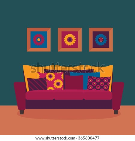 Colorful oriental interior decoration. Modern sofa with colorful pillows vector. - stock vector