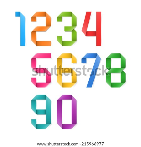 Colorful origami numbers. Vector. - stock vector