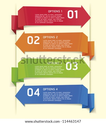 Colorful Origami Style Number Options Banner & Card. Vector illustration - stock vector