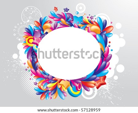 Colorful oval frame for your design - stock vector
