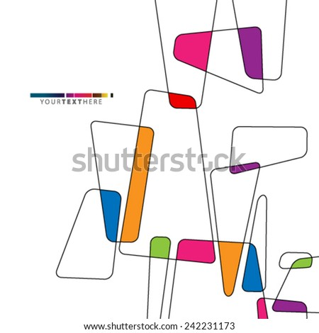 Colorful Overlapping Abstract Shapes Design Background - stock vector