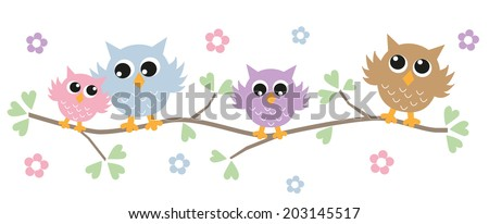 colorful owls header or banner for website - stock vector