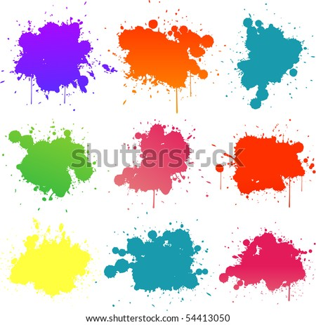 colorful paint splat - stock vector