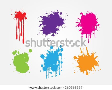 Colorful paint splat set.Paint splashes for design use.Abstract vector illustration. - stock vector