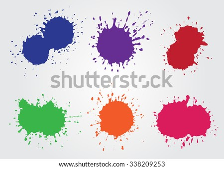 Colorful paint splatters.Paint splashes set.Vector template. - stock vector